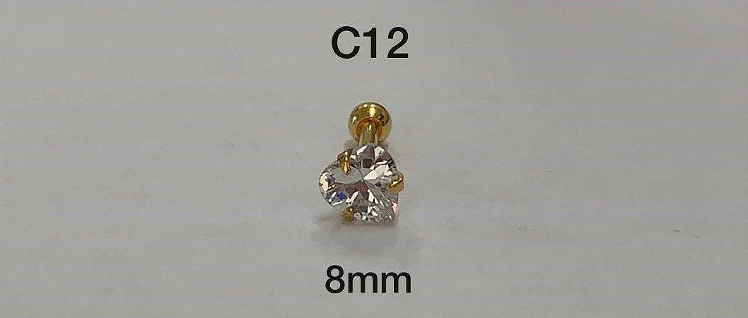 tragus em prata dourado 8mm