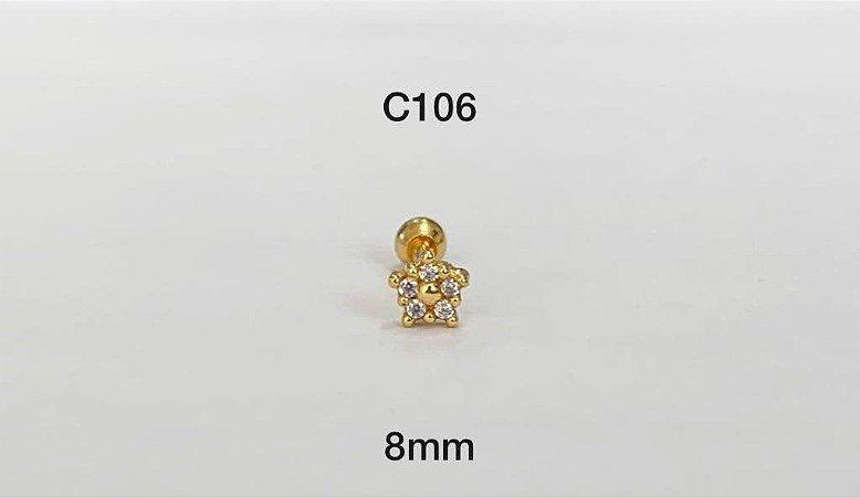 tragus estrela em prata dourado 8mm