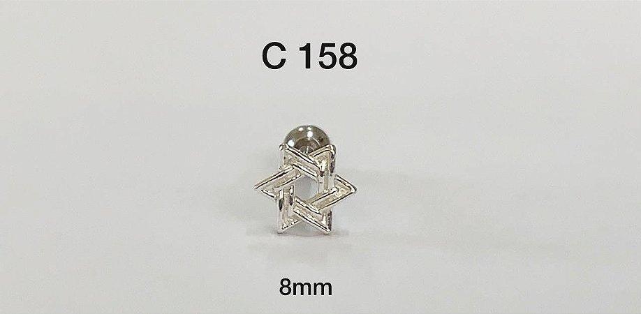 tragus estrela de Davi em prata 8mm