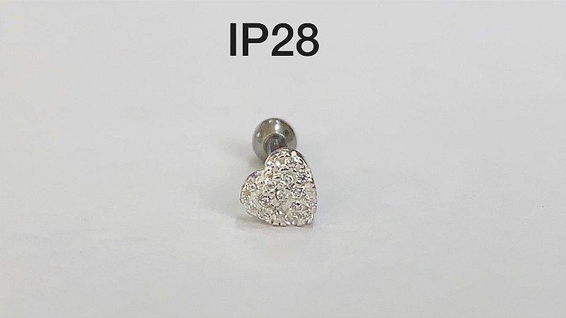 tragus coração em prata haste 8mm