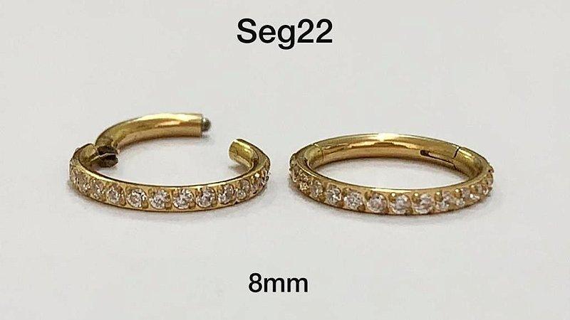 segmento de aço dourado 8mm
