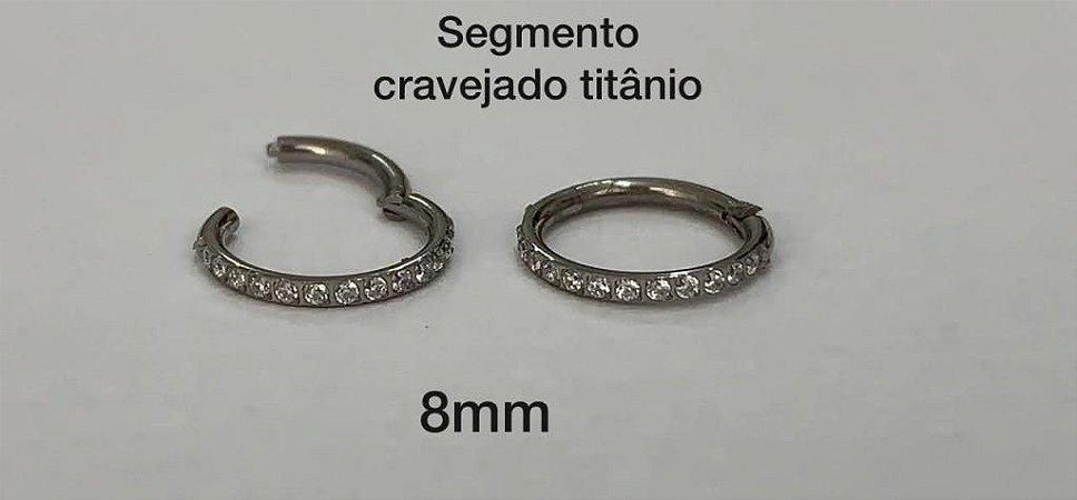 Segmento 8mm Titânio Cravejado Em Zircônia