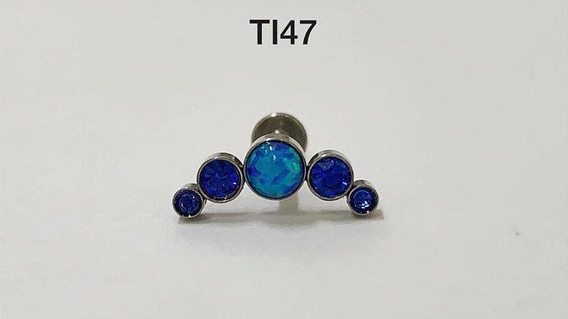 cluster titânio pedra opala azul