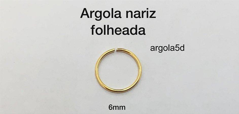 argola nariz folheada 6mm