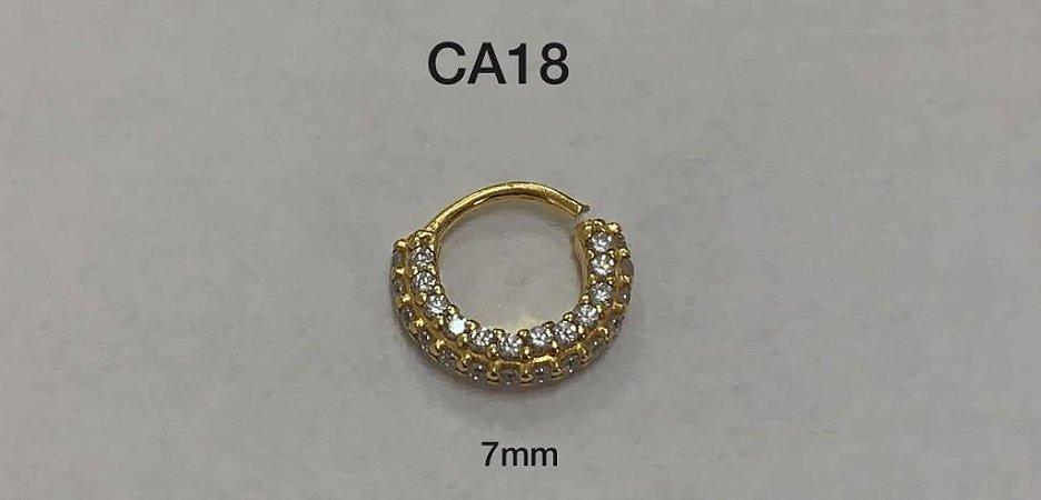 argola em prata dourada
