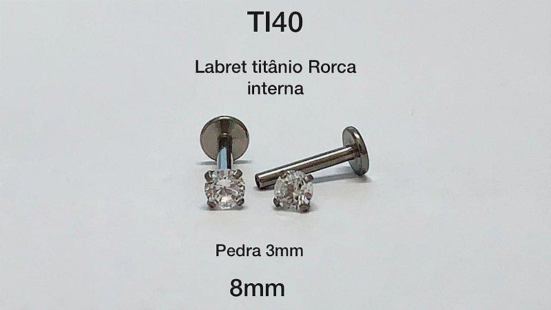 labret titanio rosca interna haste 8mm pedra 3mm