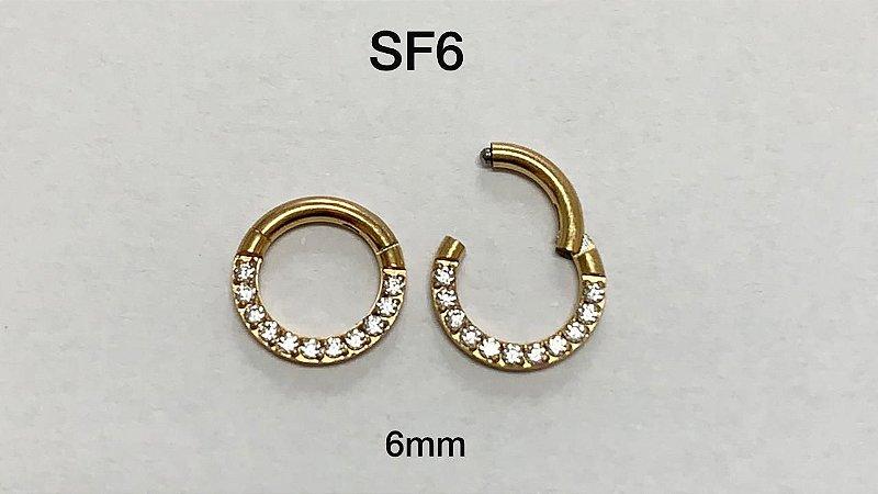 segmento frontal cravejado dourado 6mm