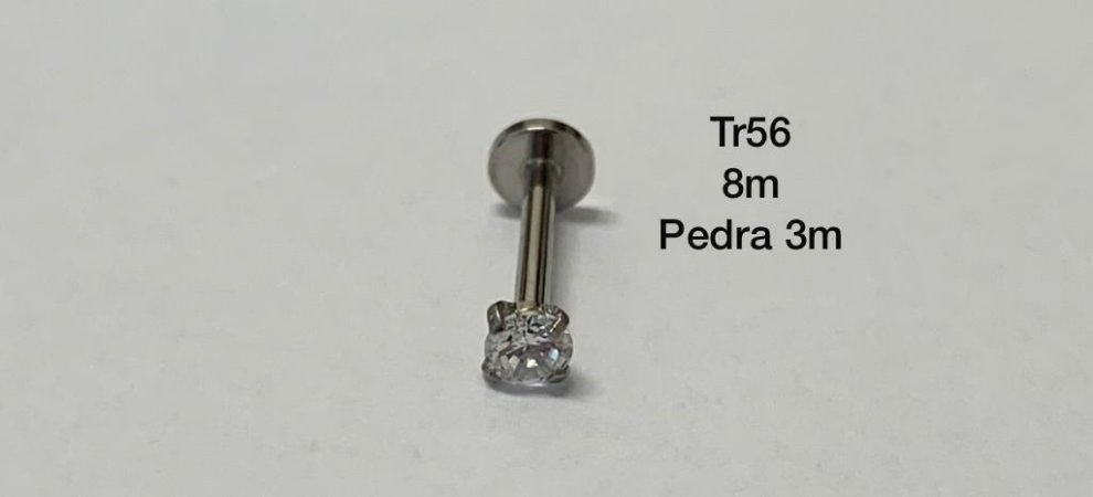 labret rosca interna haste 8mm pedra 3mm