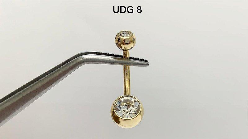 umbigo aço dourado cristal G