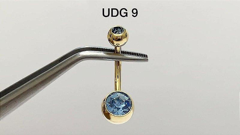 umbigo aço dourado azul G