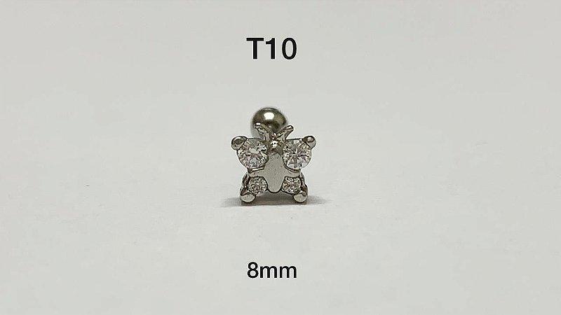 tragus borboleta folheado aço 8mm