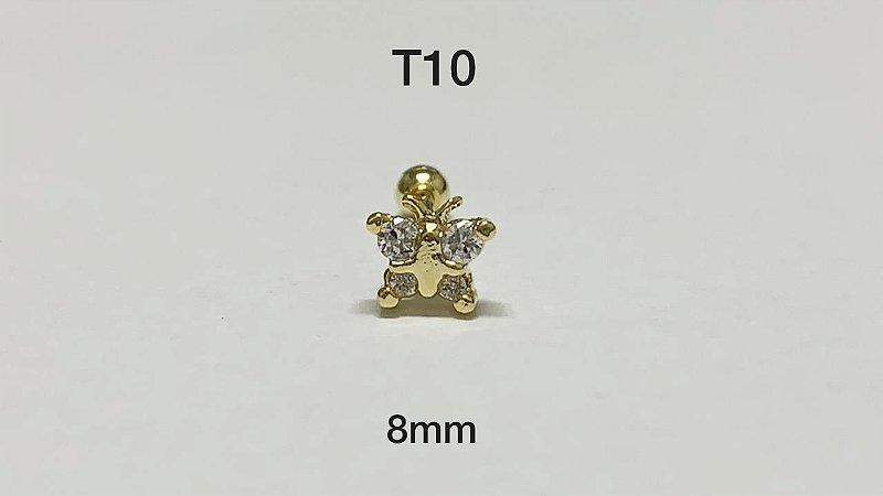 tragus borboleta folheado dourado haste aço 8mm