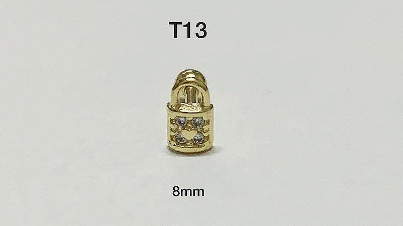 tragus cadeado folheado dourado 8mm