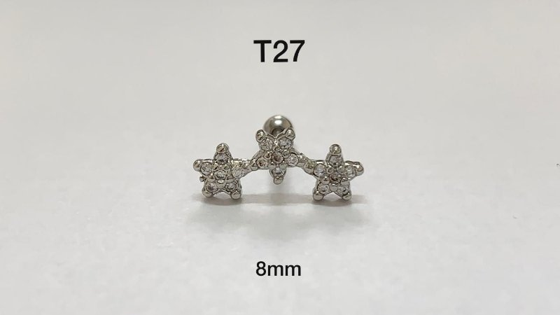 tragus 3 estrelas folheado 8mm