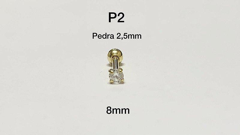 ponto de luz folheado dourado 8mm pedra 2,5mm