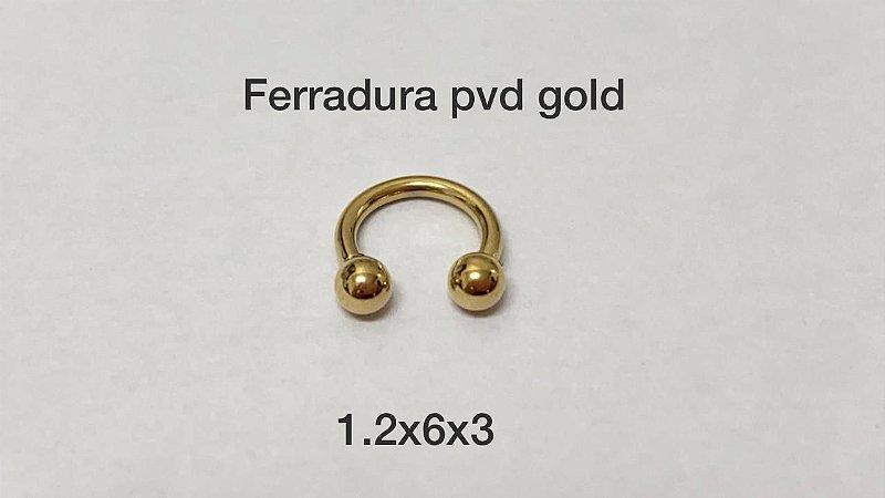 Ferradura pvd gold 6mm