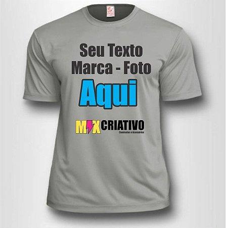 Camiseta Cinza Claro 100% Poliéster Personalize do seu jeito!!!