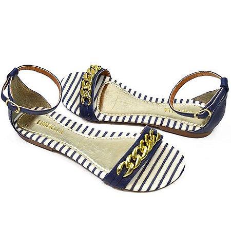 Sandália Rasteira Azul com Dourado