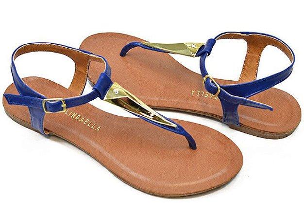 Sandália Rasteira Dedo Fino Azul