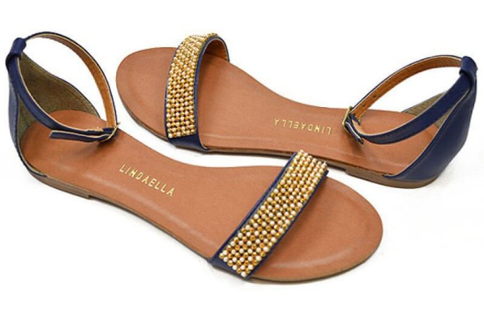 Sandália Rasteira Azul com Strass Pérola e Dourado