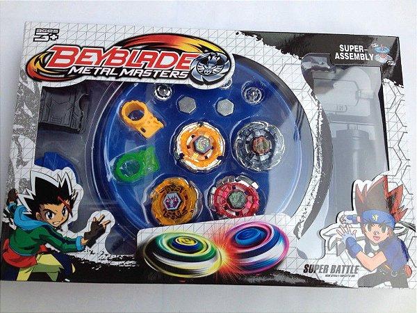 Arena Beyblade Pequena + 4 Beyblades Com Launcher - Promoção