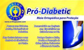 Meia Pró-diabetic Para Proteção - Ortho Pauher  AZUL E BRANCA