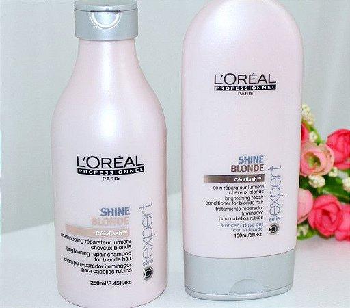 2 kits de shampoo e condicionador shine blonde e force relax