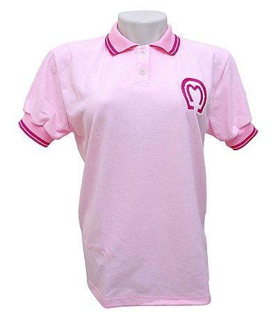Camisa Polo Feminina Mangalarga Marchador Rosa Claro