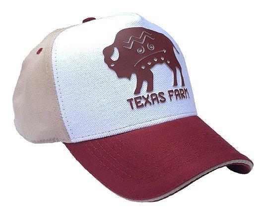 Boné Country Texas Farm  Búfalo Bordô