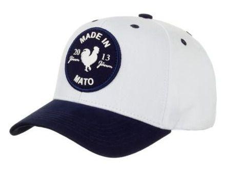 Boné Made In Mato  Rooster Branco com Aba Azul Marinho