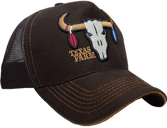 Boné Country Texas Farm Touro Marrom