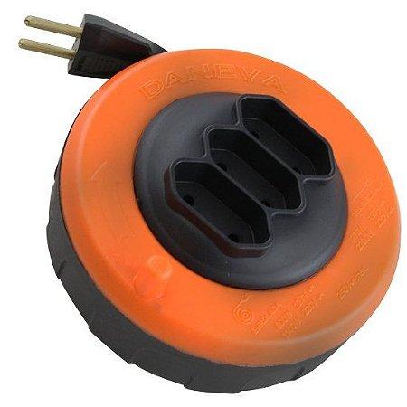 Extensão Elétrica Retrátil 5 Metros Pop Spin Daneva 3 Tomadas