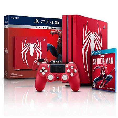 Video Game Playstation PS4 Pro Edição Spider-Man Homem Aranha - 1TB - 4k Ultra HD