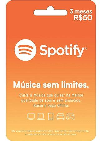 Cartão Pré Pago Vale-Presente Spotify 3 Meses R$ 50,00 - Gift Card