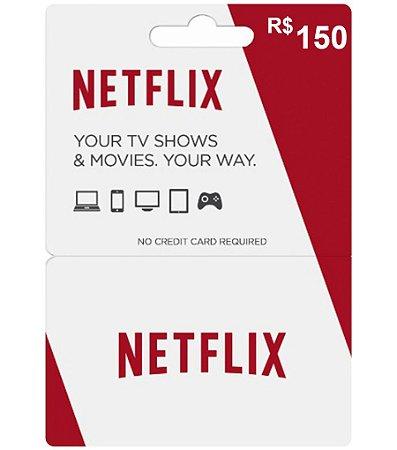 Cartão Pré Pago Vale-Presente Net Flix R$ 150,00 - Gift Card