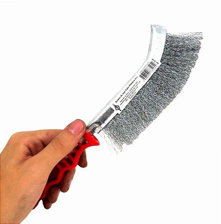 Escova De Aco Carbono C/ Cabo Plastico Manual Brasfort 7274
