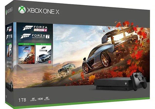 Xbox One X - 1TB Bivolt 4K Ultra HD Nativo - Com Jogos Forza Horizon 4 e Forza 7