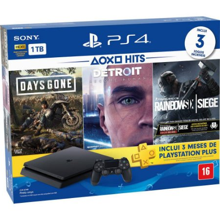 Video Game Playstation - Ps4 Slim Com 1 Controle HD 1 TB + 3 Jogos: Days Gone, Detroit, Raimbow Six