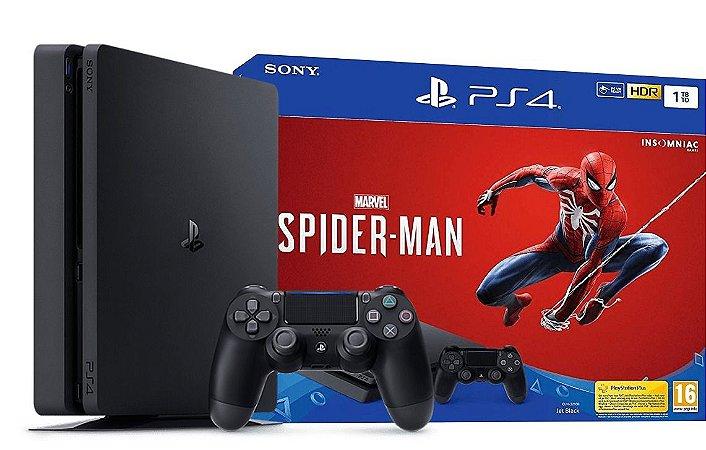 Video Game Playstation PS4 SLIM - 1TB - Com Spider-Man Homem-Aranha
