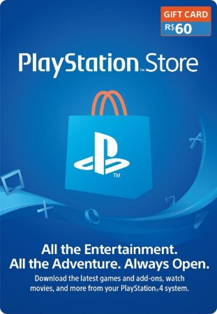 Cartão Vale Presente Playstation Store Brasil R$ 60 Reais Psn Brasileiro Gift Card