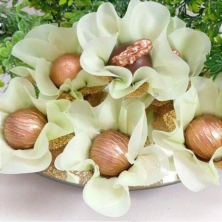 25 Forminhas Flor Primavera Verde Menta F016
