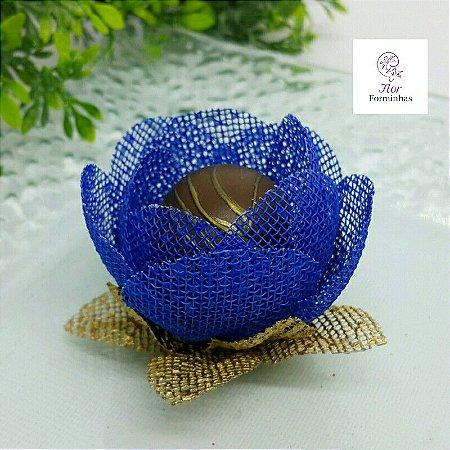25 Formas para doces - Botão Camelia Azul Royal - F018