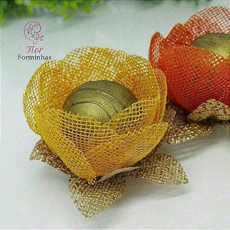 25 Formas para doces - Botão Camelia Amarelo Ouro - F018
