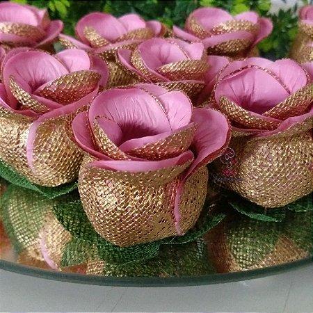 25 Forminhas para doces Flor Botão Rosa - Rosa Cha D - F043