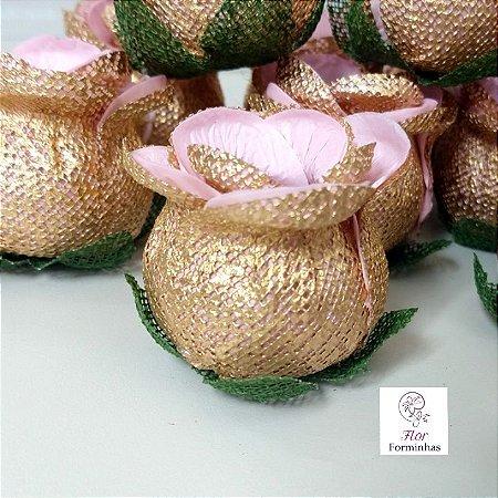 25 Forminhas para doces Flor Botão Rosa - Rosa Bebê - F043