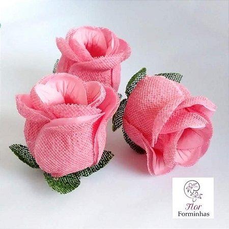 25 Forminhas para doces Flor Botão Rosa - Rosa Cha  - F044