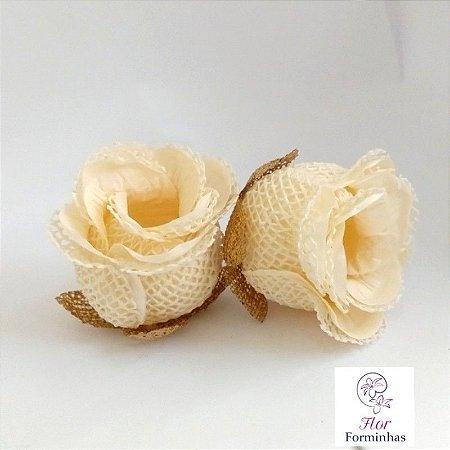 25 Forminhas para doces Flor Botão Rosa Rústico Marfim - F045