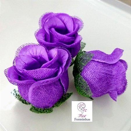 25 Forminhas para doces Flor Botão Rosa - Roxo - F044