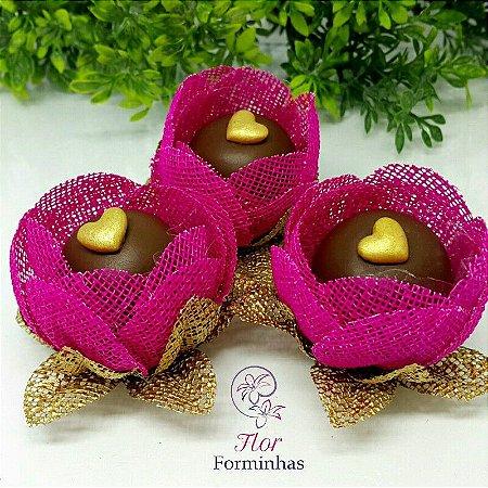 12 Formas para doces - Botão Camelia Pink - F018
