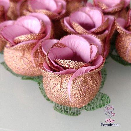 25 Forminhas para doces Flor Botão Rosa - Rose Gold c Rosa Cha - F053